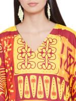 V-Neck Maxi Kaftan Dress - Plus - Yellow / Red - Detail