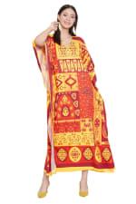 V-Neck Maxi Kaftan Dress - Plus - Yellow / Red - Front