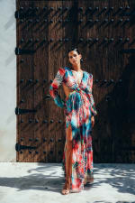 Esvedra Multi Colored Open Front Gown - 4