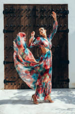 Esvedra Multi Colored Open Front Gown - 3