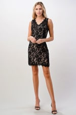 Kaii Two Tone Lace V-Neck Dress - 1
