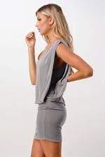 Kaii Double Layered Banded Bottom Dress - Grey - Back