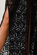 Kaii Front Slit Lace Maxi Dress - Black - Detail