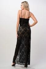 Kaii Front Slit Lace Maxi Dress - Black - Back
