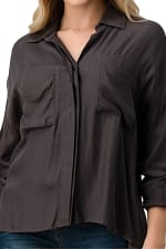 KAII Button Front Two Pockets With High-Low Hem And Rolled Up Sleeves Shirts Top - 3