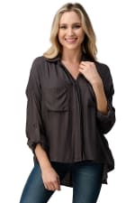 KAII Button Front Two Pockets With High-Low Hem And Rolled Up Sleeves Shirts Top - 5