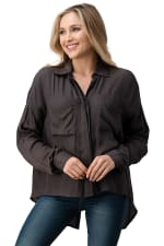 KAII Button Front Two Pockets With High-Low Hem And Rolled Up Sleeves Shirts Top - 4