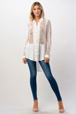 Kaii 100% SILK Lace Panel Tunic Top - Off-White - Front