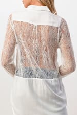 Kaii 100% SILK Lace Panel Tunic Top - Off-White - Back