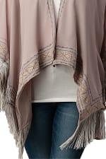 Kaii Hemmed Beaded With Tassel Cover Up Kimono Cardigan - Grey - Back