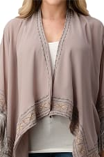 Kaii Hemmed Beaded With Tassel Cover Up Kimono Cardigan - Grey - Front