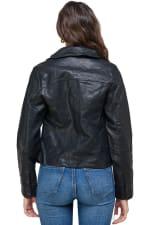 Kaii Double Buckle High-Neck Vegan Leather Biker Jacket - 2