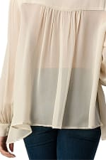 Kaii Beaded Jewel Trim Button Front High-Low Hem Shirt With Long Sleeves Blouse Top - Off White - Back
