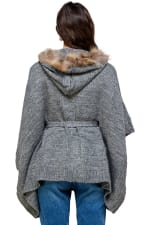Kaii Hooded with Fur Trim Pancho Sweater - 2