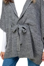 Kaii Hooded with Fur Trim Pancho Sweater - 3