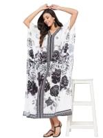 Black & White Kaftan Long Maxi Dress - Plus - 6