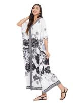 Black & White Kaftan Long Maxi Dress - Plus - 4