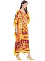 Yellow Kaftan Long Maxi Dress - Plus - 6