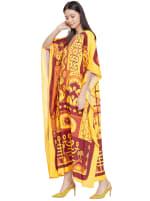 Yellow Kaftan Long Maxi Dress - Plus - 7