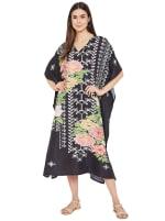 Black Kaftan Long Maxi Dress - Plus - 4