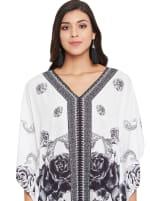 Black & White Kaftan Long Maxi Dress - Plus - 3