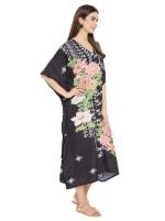 Black Kaftan Long Maxi Dress - Plus - 6