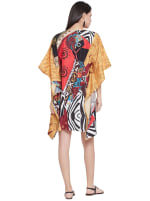 Multicolor Polyester Short Kaftan Tunic - Plus - Multicolor - Back