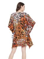 Brown Polyester Short Kaftan Tunic - Plus - Brown - Back