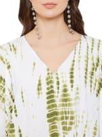 Olive Polyester Kaftan Long Maxi Dress - Plus - Olive - Detail