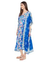 Royal Blue Kaftan Long Maxi Dress - Plus - 4