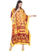 Yellow Kaftan Long Maxi Dress - Plus - 4