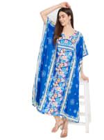 Royal Blue Kaftan Long Maxi Dress - Plus - 6