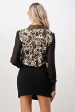 Kaii Wavy Marble Printed 100% Silk Shirt - Olive / Black - Back