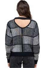 Kaii Open Back Studded Sweater - Black - Back