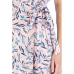 Short Sleeve Crepe Wrap Dress - Blush / Denim Tropical - Detail