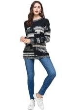 Kaii Multi Yarn Sweater Top - Black / Grey - Front