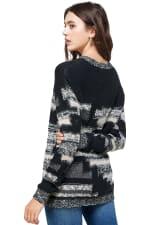 Kaii Multi Yarn Sweater Top - Black / Grey - Back