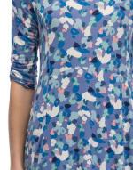 Elbow Sleeve Babydoll Top - Denim Painted Spots - Detail