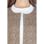 Faux Suede Open Front Long Sleeve Jacket - Brown Leopard - Detail