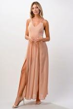 Kaii Open Back Lace Insert Maxi Dress - Pink - Back