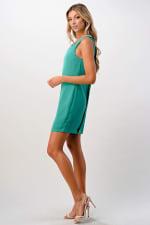 Kaii Jeweled Neck Detail Dress - Jade - Back