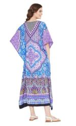 Blue And Purple Polyester Maxi Kaftan Dress - Plus - Blue / Purple - Back