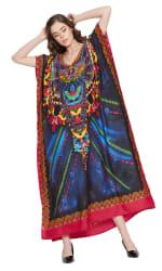 Blue Maxi Kaftan Dress - Plus - 3