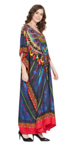 Blue Maxi Kaftan Dress - Plus - 4