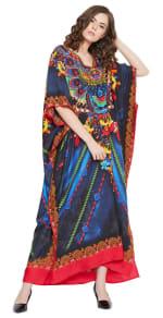 Blue Maxi Kaftan Dress - Plus - 6