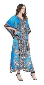 Sky Blue Polyester Maxi Kaftan Dress - Plus - 3