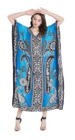 Sky Blue Polyester Maxi Kaftan Dress - Plus - 5