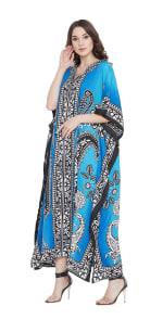 Sky Blue Polyester Maxi Kaftan Dress - Plus - 4