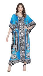 Sky Blue Polyester Maxi Kaftan Dress - Plus - 6