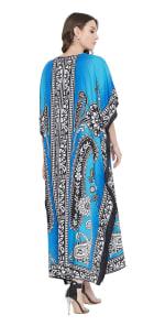 Sky Blue Polyester Maxi Kaftan Dress - Plus - 2